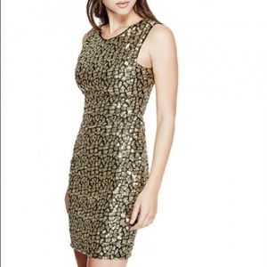 GUESS Vienna Sequin Gold Black Leopard Dress Sz Lg